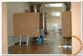 Travaux au Musée : préparation d'une salle d'exposition