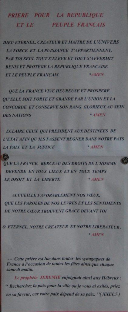 Prière pour la République et le Peuple Français